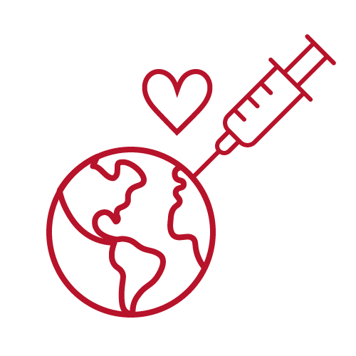 Syringe injecting the world with a heart above.