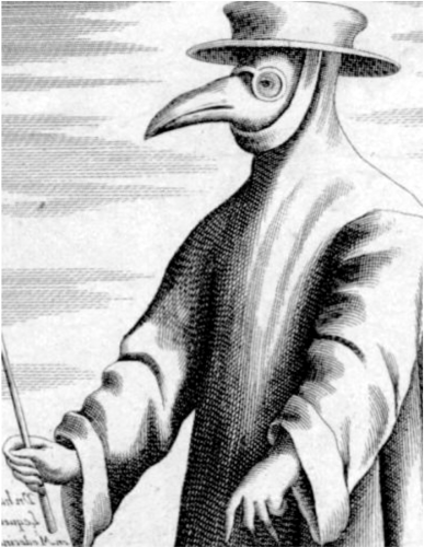 "The beak of a plague doctor mask allowed physicians to carry aromatic items to ""purify"" the air, in accordance with the prevailing to miasma theory at the time."
