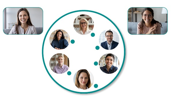 rectangular and circular headshots of men and women participating in a virtual conference