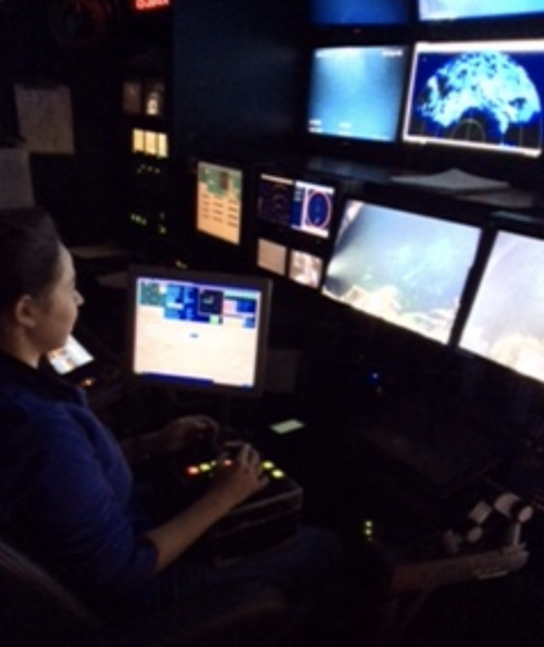 Figure 1. Dr. Begüm Topçuoglu piloting the Jason II ROV on the 2015 Axial Seamount Expedition. Image courtesy B. Topçuoglu.