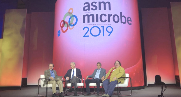 Vincent Racaniello speaks with (L to R) Carl Nathan, Daniel Portnoy, and Victoria McGovern at the President's Forum during ASM Microbe 2019