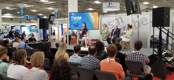Susanna Harris (L) is interviewed by (L to R) Michele Swanson, Michael Schmidt, and Vincent Racaniello during a live TWiM taping at ASM Microbe 2019.