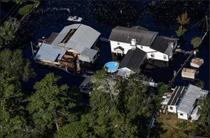 Aerial photo of flooding caused by Hurricane Florence.